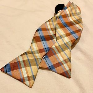 Orange and Blue Plaid Bow Tie